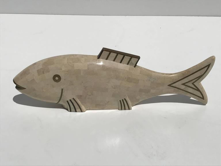 Late 20th Century Pair of Maitland-Smith Tessellated Coral and Horn Fish Sculptures For Sale