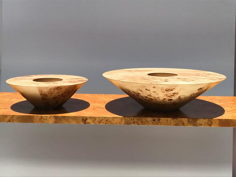 Mid-Century Modern Set of Two Burl Wood Candleholders For Sale