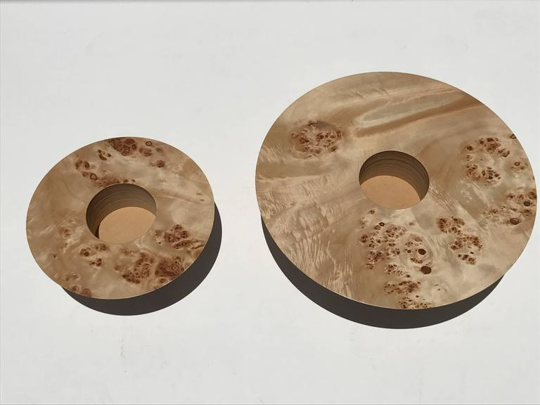 American Set of Two Burl Wood Candleholders For Sale