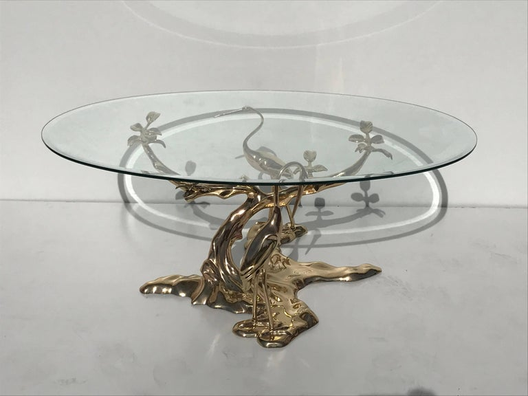 Brass bonsai tree coffee table style of willy daro for for Coffee tables 16 inches high