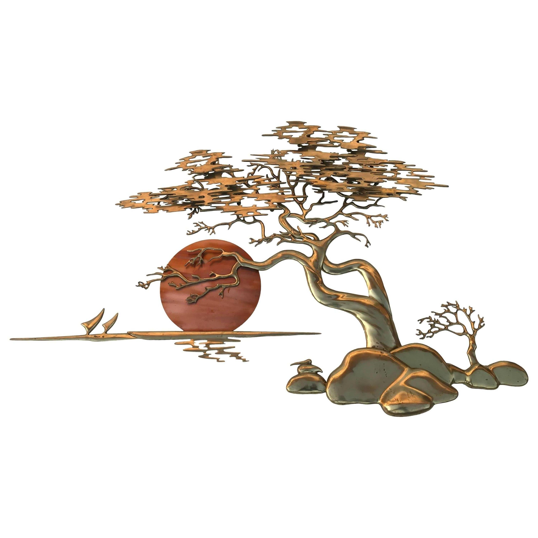 Brass Bonsai Tree Wall Sculpture by Bijan