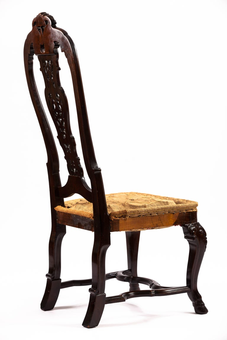 Carved Portuguese Rococo Style Mahogany Side Chair For Sale