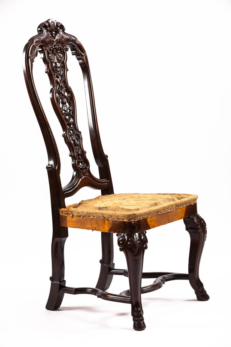 Portuguese Rococo style mahogany side chair.