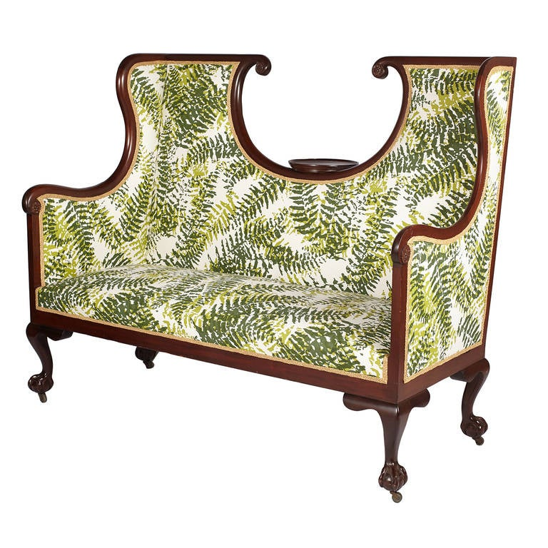 Large English Edwardian settee newly reupholstered in a custom Tillett fern print with ball and claw feet. Extremely Rare!