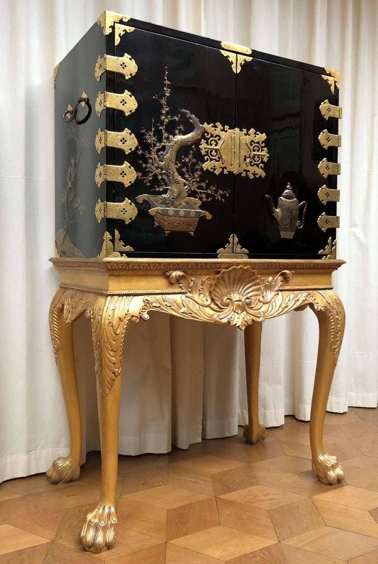 Gilt Japanese Lacquer Cabinet For Sale