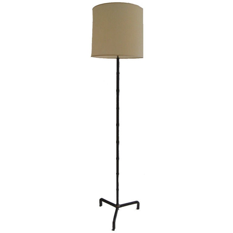 Stitched Leather Floor Lamp Attributed to Jacques Adnet For Sale