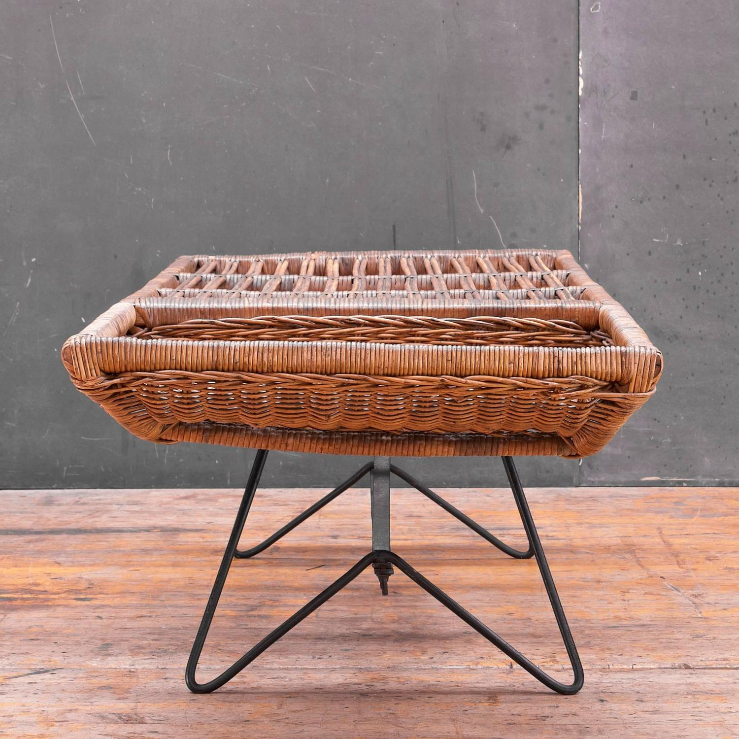 Modernist cane basket iron rod patio coffee table at 1stdibs Coffee table with wicker baskets