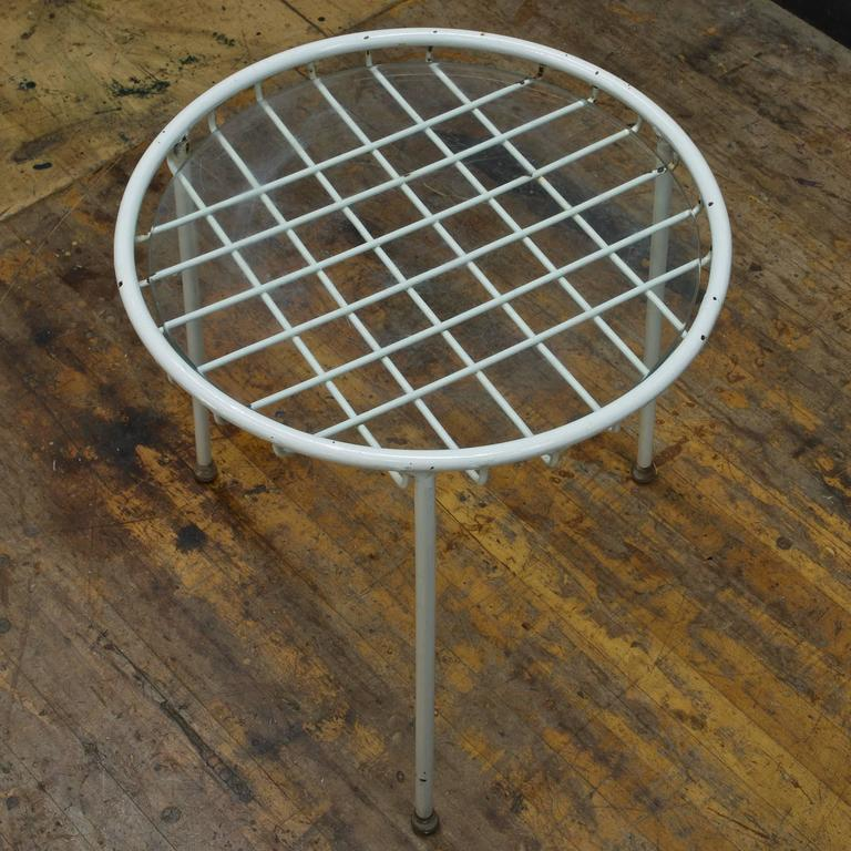 American 1950s Rare George Nelson Associates Arbuck Table Stool Wire Grid Iron Patio  For Sale