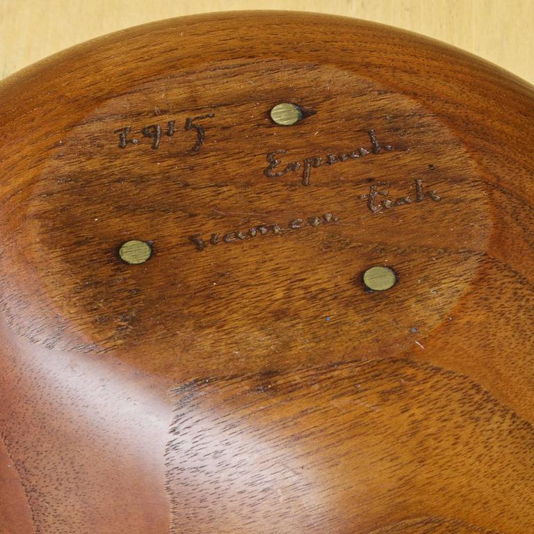 Rare Arthur Espenet Carpenter Turned Teak Bowl American