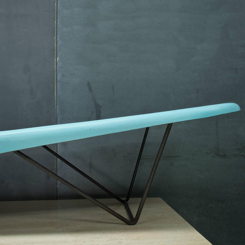 Mid Century Aqua Fiberglass Pool Side Chaise Longue For