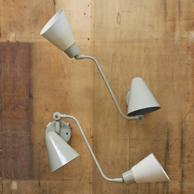 Kurt Versen Double Cone Fiberglass Wall Sconce Reading Lamps, Pair For Sale at 1stdibs