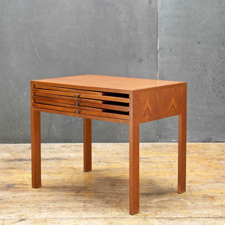 Wikkelsø Danish Teak Transforming End Table With Three Tray Tables 3