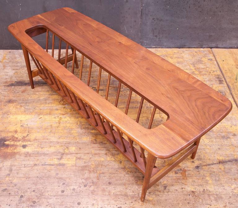 monumental cabin modern mid-century magazine rack walnut long