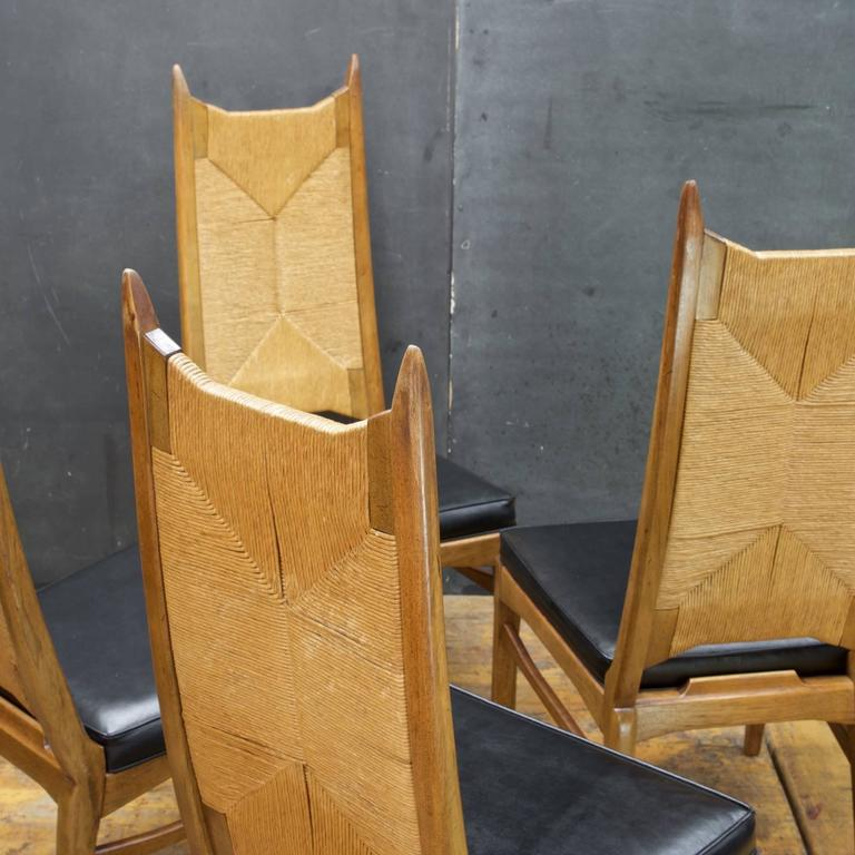 American Modern 1960s Cathedral Highback Rush Chairs Mid Century Like  Pearsall Umanoff Perrian For Sale