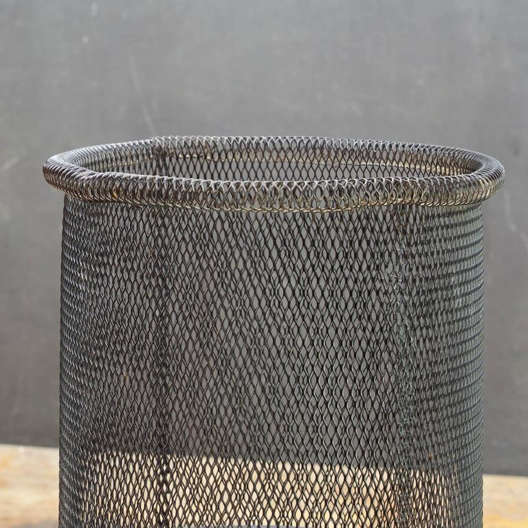 Wire Waste Paper Basket 1950s atomic wire mesh trash can wastebasket stan hawk expanded