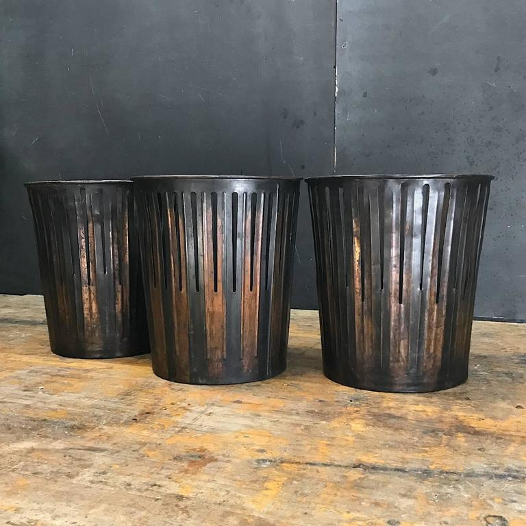 Japanned Finished Industrial Copper Office Wastebaskets Trash Cans  Victorian Era 2