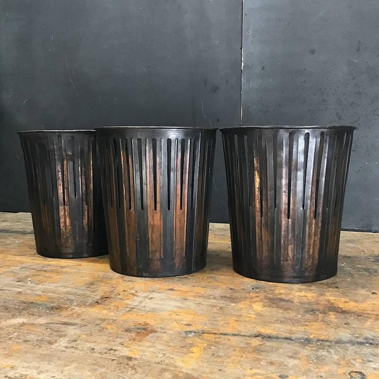 Japanned finished industrial copper office wastebaskets trash cans victorian era at 1stdibs - Copper wastebasket ...