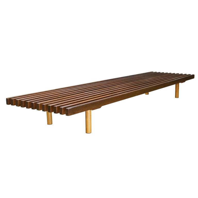 Vintage Mid Century 1950s Mahogany Low Slat Bench Platform Prouve Perriand  Style For Sale