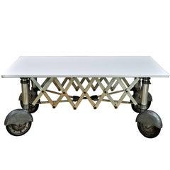 1930s Vintage Industrial Vitrolite White Milk Glass Slab Coffin Table Macabre