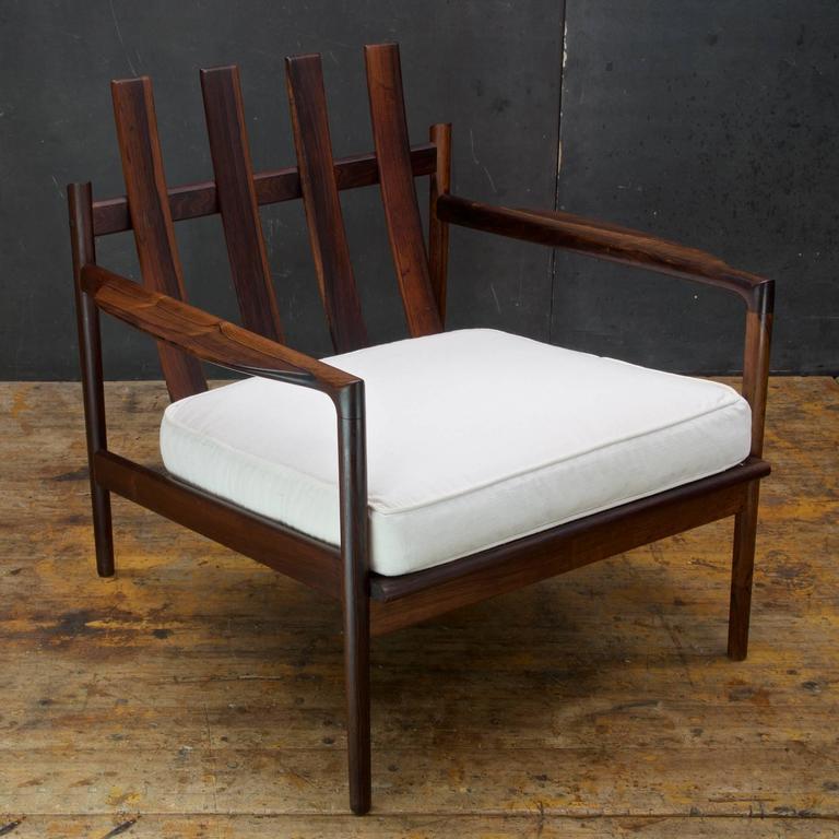 Scandinavian Modern 1950s Kofod-Larsen Brazilian Rosewood Danish Pickett Lounge Chair Mid-Century For Sale