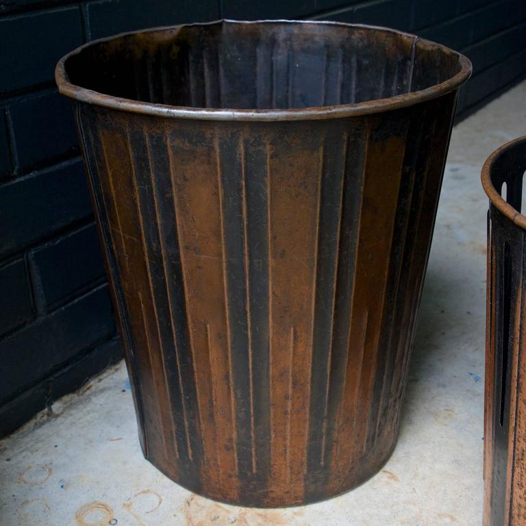 Japanned finished copper factory office trash cans wastebaskets for sale at 1stdibs - Copper wastebasket ...