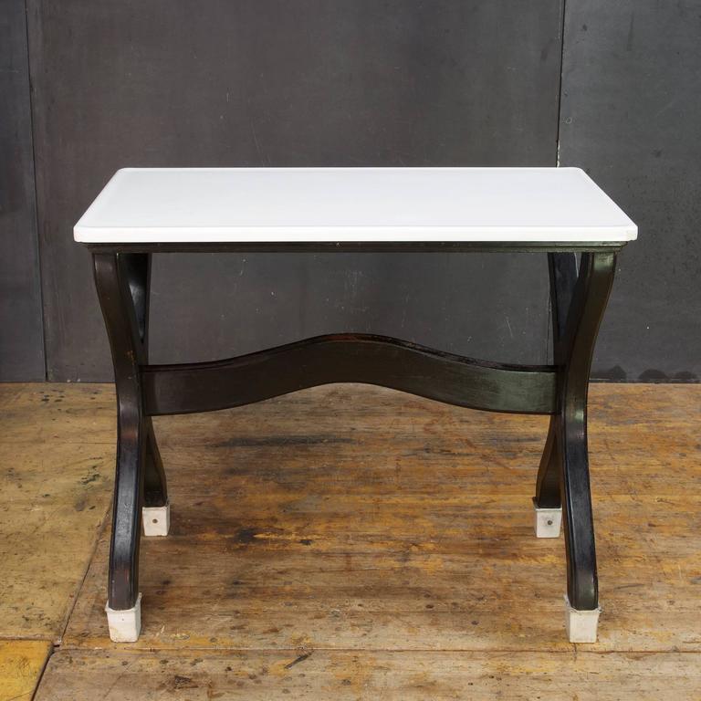 Victorian Farmhouse Seamstress Work Shop White Glass Table