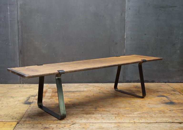 Mid Century Modern Architects Minimalist Teak Plank Coffee Table Bench  Mid Century Retro Rustic