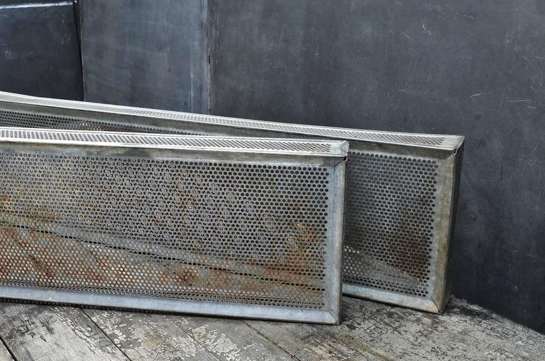 Pressed Old Rusty Industrial Perforated Sifting Bins For Sale