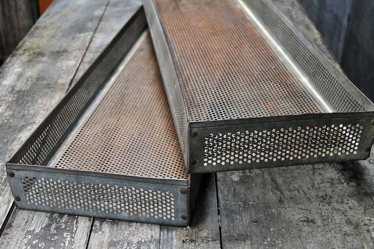 American Old Rusty Industrial Perforated Sifting Bins For Sale