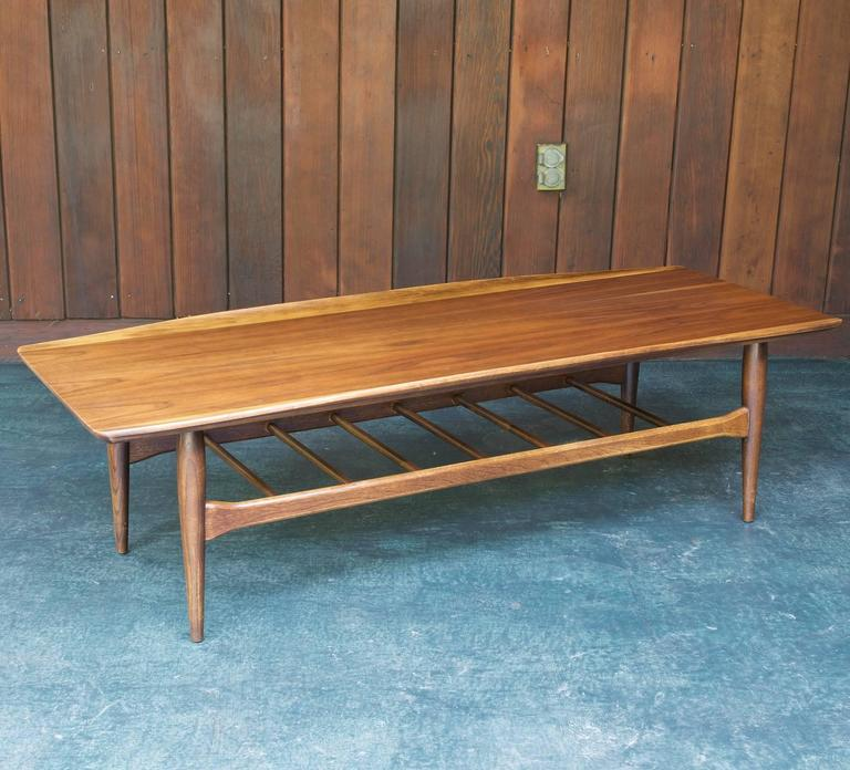 Mid Century Modern Long Winged Mad Men Coffee Table With Magazine Rack Shelf For