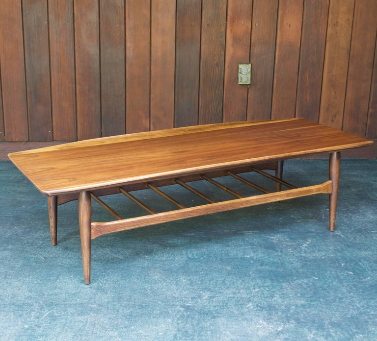 Long Winged Mad Men Coffee Table With Magazine Rack Shelf At 1stdibs