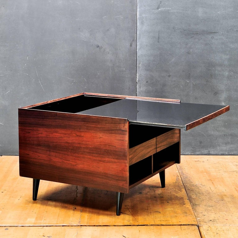 Mid Century Modern 1950s Rosewood Danish Liquor Cabinet Sofa Sectional Side Table Rustic Mad Men