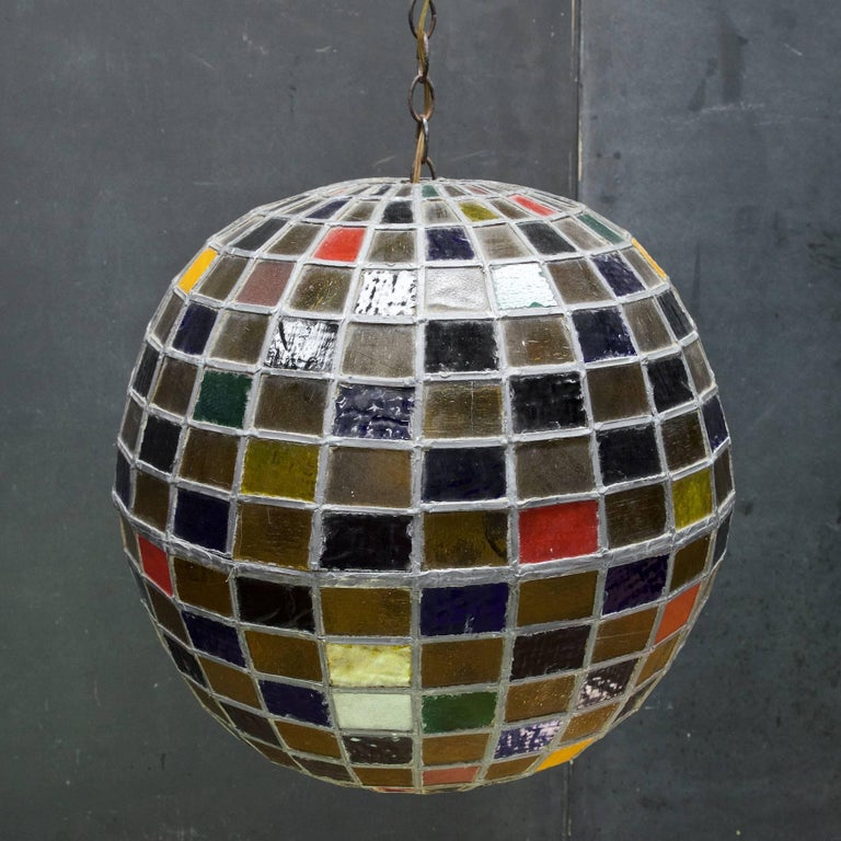 1950s Massive Bohemian Stained Lead Glass Entryway Pendant