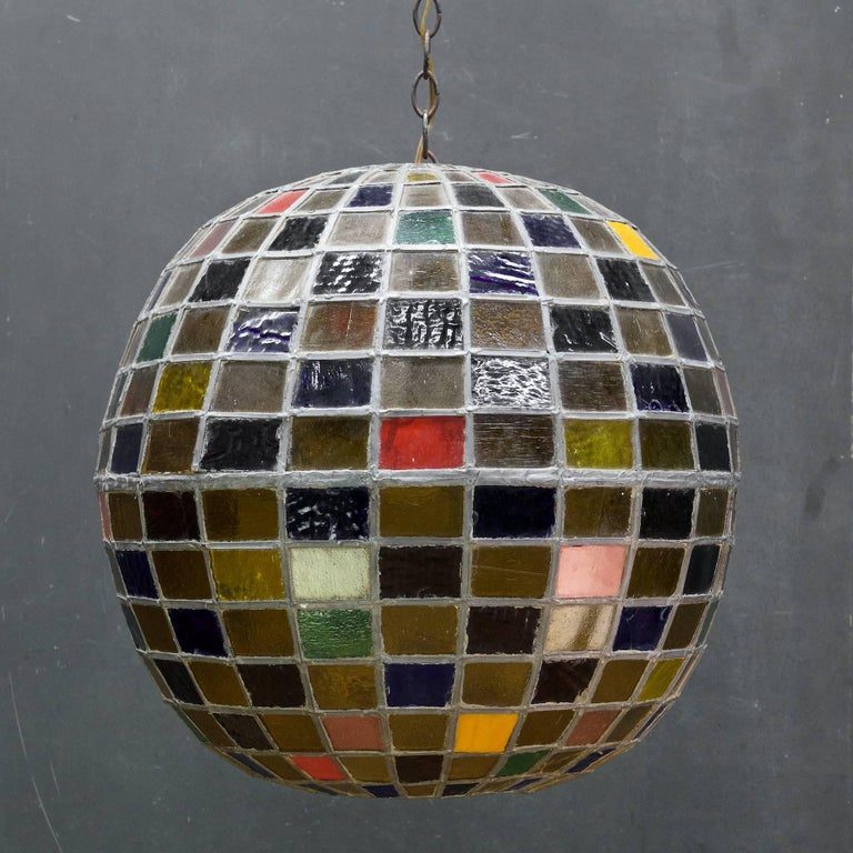 American 1950s Massive Bohemian Stained Lead Glass Entryway Pendant Lantern Globe For Sale