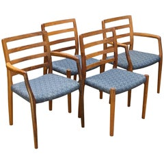 Danish Solid Brazilian Rosewood No.85 Midcentury Chairs JL Moller Niels Møller