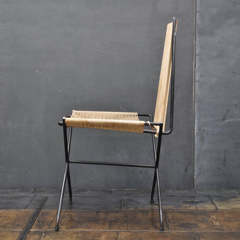 A rare low production chair design by noted architect Gunnar Birkerts, produced by Yellen, circa 1952. In original condition with some loss to string. This chair design was shown in the Museum of the City of New York's 2010 exhibition, The Future at