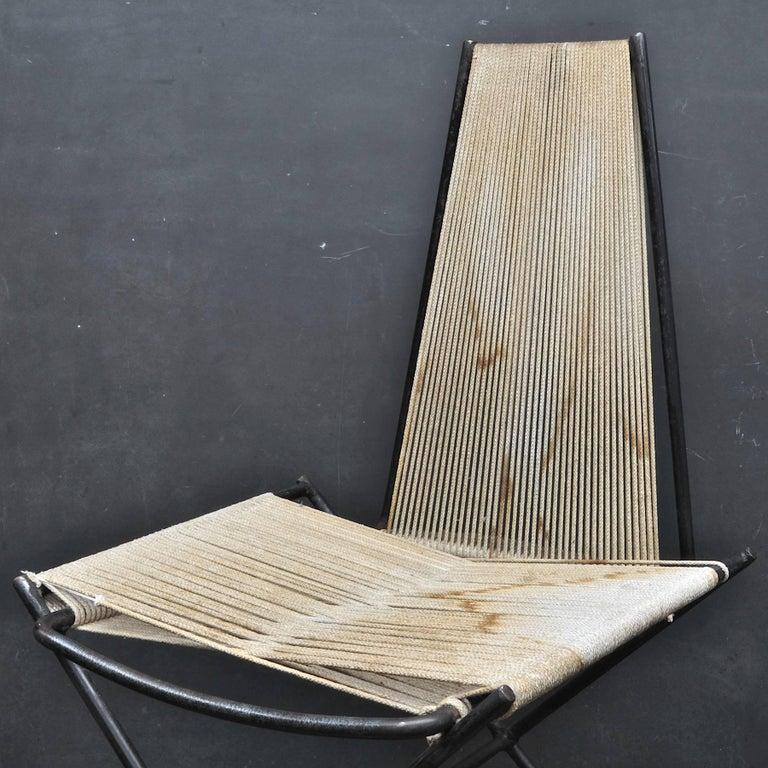 Welded Rare 1950s Detroit Modernist Iron Chair Original Studio Craft McCobb Eames Era