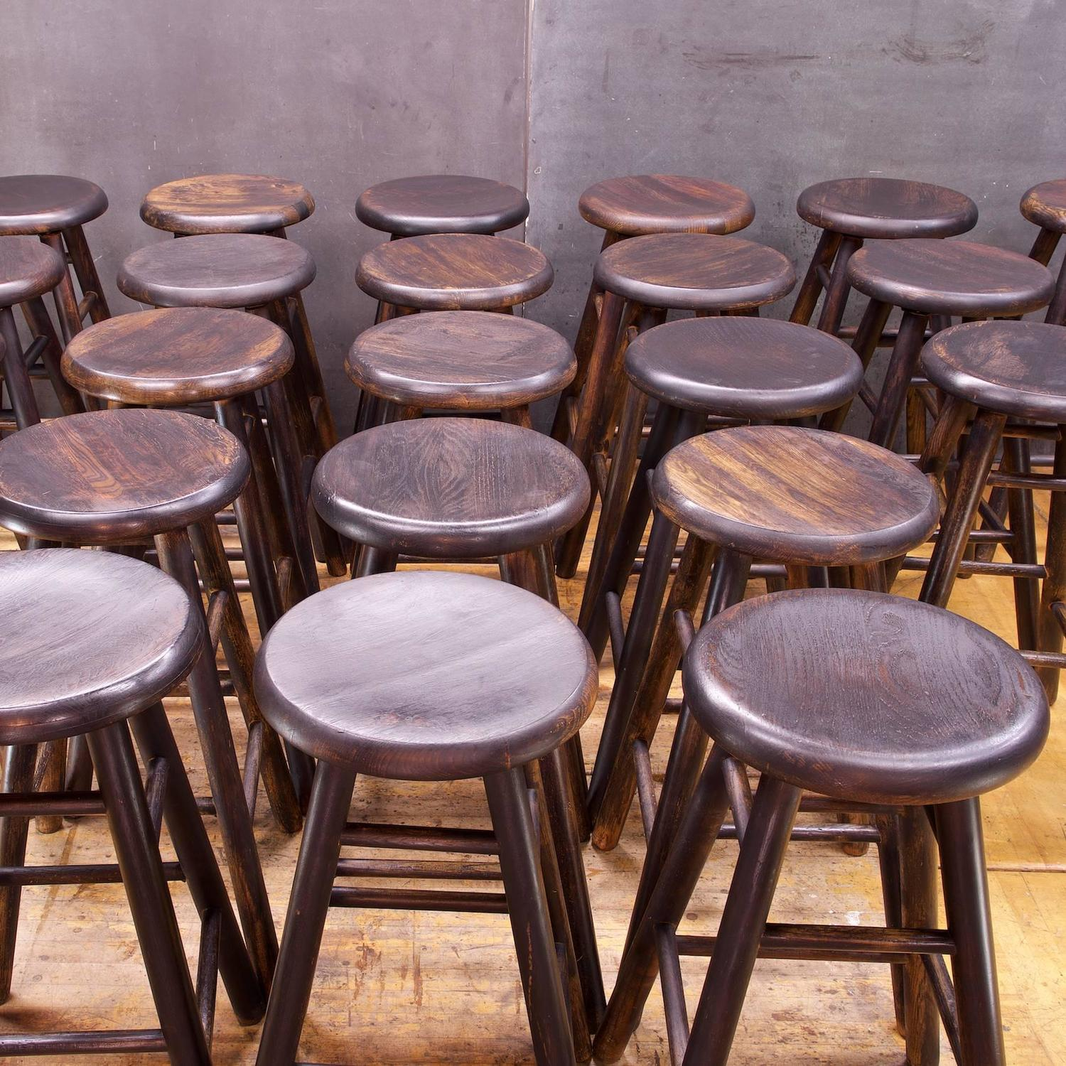 Old Line Tavern Staved Oak Swivel Bar Stools At 1stdibs