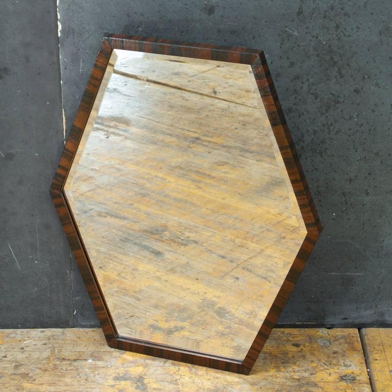 European Art Deco Wall Mirror of Optically Illusory Hexagonal Form ...