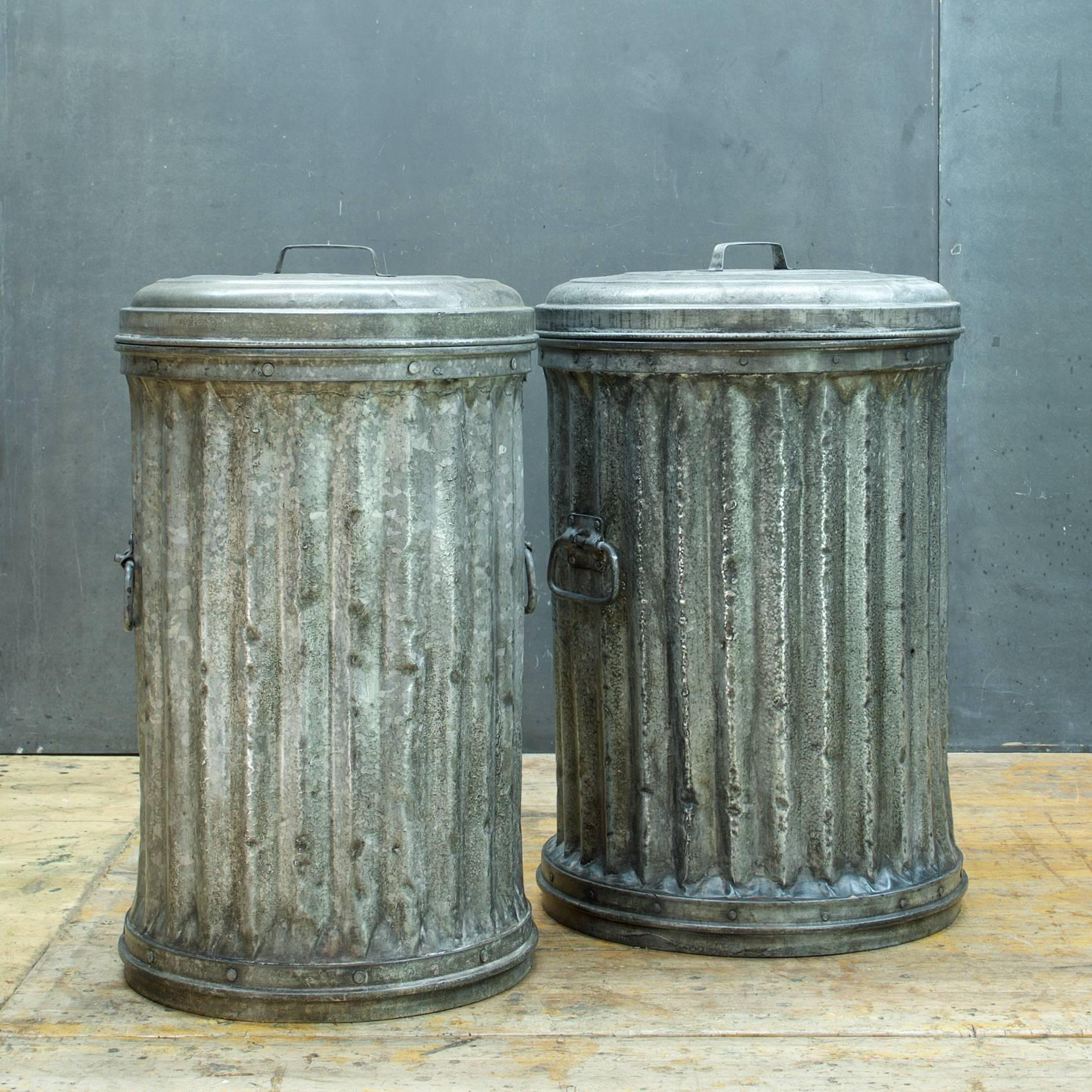 1950s Riveted Alley Trash Cans at 1stdibs