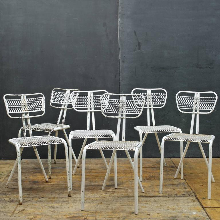 Mid Century Modern Set Of Six French Industrial Bistro Chairs In Manner Of  Prouve For