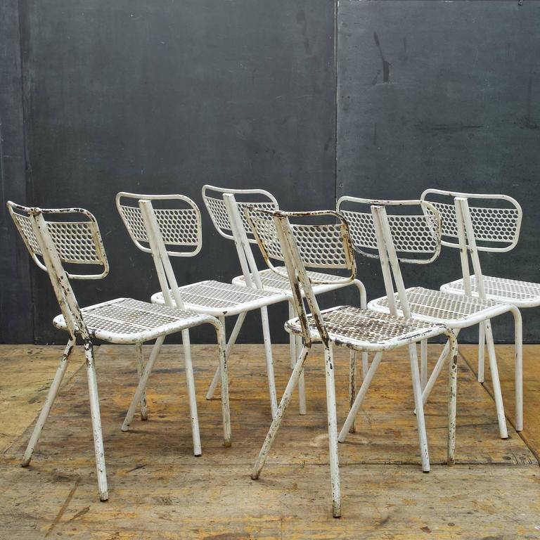 Post War Designed French Industrial/Mid Century Modern Cafe Chairs.