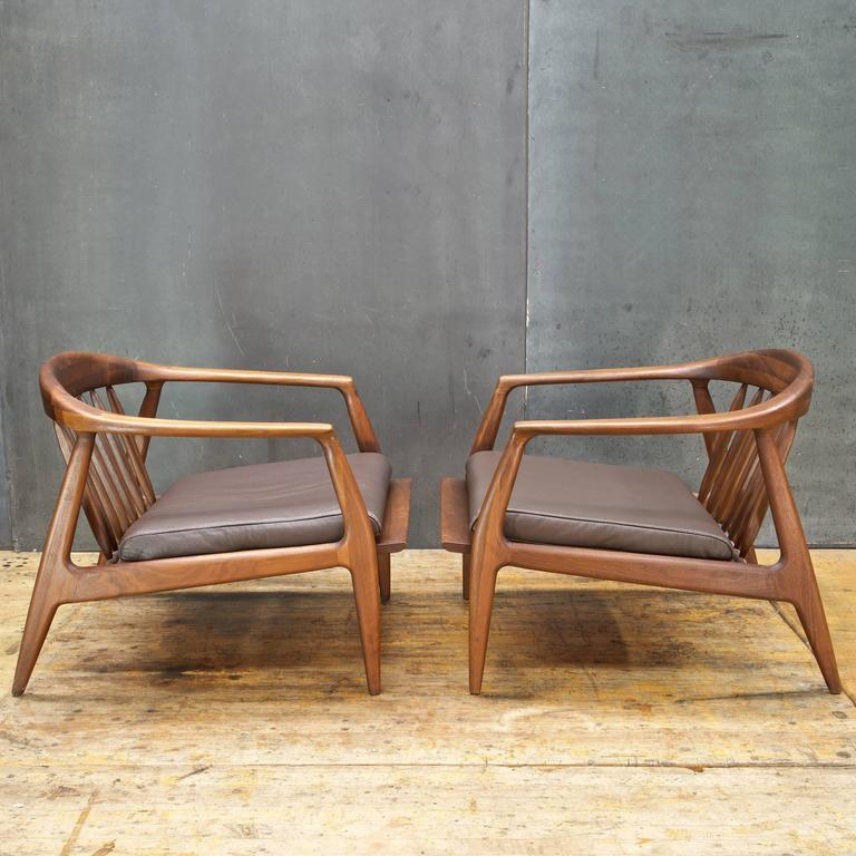1960s Walnut And Leather Lounge Chairs At 1stdibs