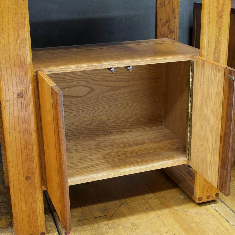 American Post Modern Lou Hodges California Design Group Wall Unit Desk Oak Cabinet For Sale