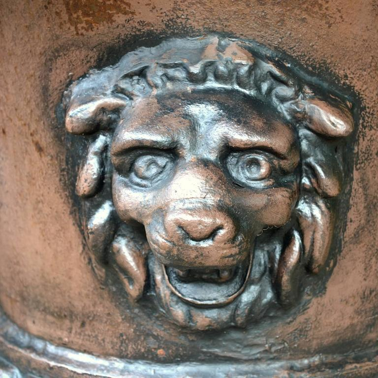 Cast 1810s St.Pauls Estate Hedge Maze Entryway Urns with Lions Heads For Sale