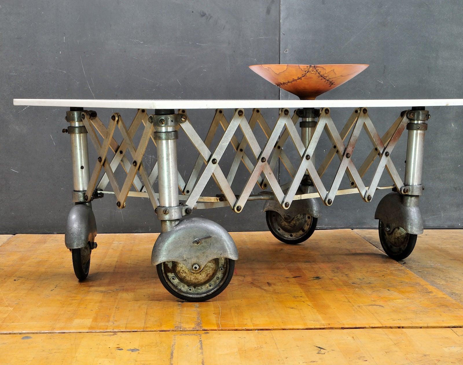 S Vintage Industrial Vitrolite White Milk Glass Slab Coffin - Wheelbarrow coffee table