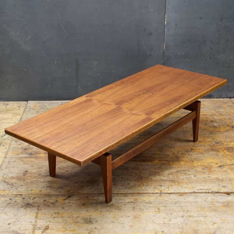 Long Low Coffee Table: Danish American Studio Craft Risom Long Floating Top