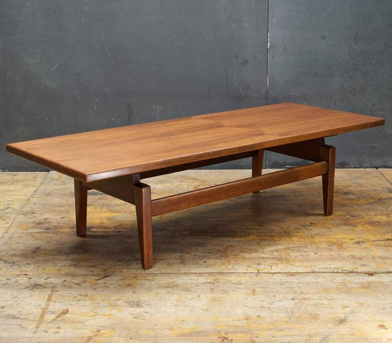 Mid Century Modern Danish American Studio Craft Risom Long Floating Top Walnut Coffee Table Bench