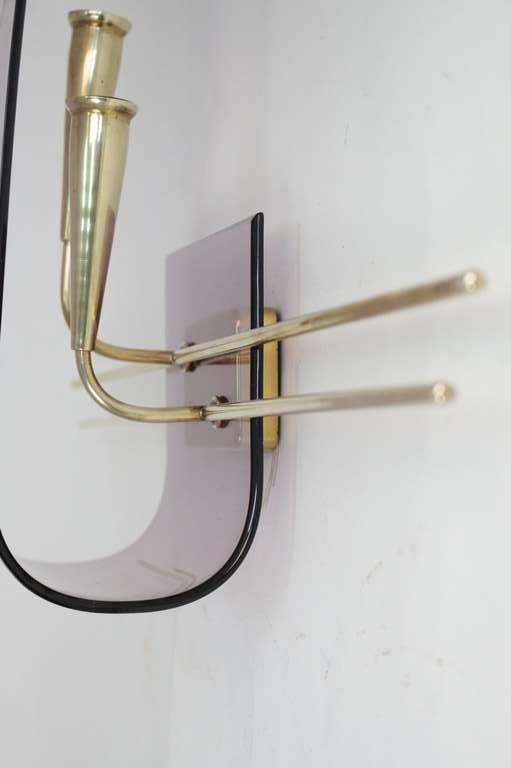 French Pair of 1960's Asymmetrical Altuglass Sconces For Sale