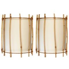 Pair of 1950s Rattan Sconces by Louis Sognot